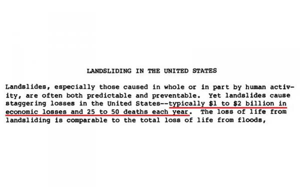 This frequently cited statistic comes from a 1985 report on landslides.