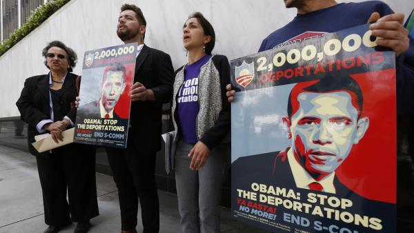Members of a coalition of Latino groups rally outside the Federal Building in Los Angeles on Wednesday. Activists say they plan more rallies and demonstrations across the country to push for action on immigration reform.