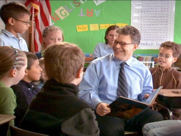 "Al Franken's campaign website allows users to download b-roll of the candidate, including a file called ""Franken reading to children."""