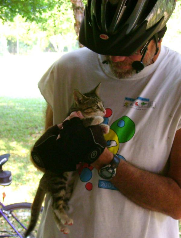 Steve Winham holds his cat, Doodle Bug, who he found as a kitten in 2009. He says he discovered her in the middle of the street while listening to The Jim Engster Show on WRKF.
