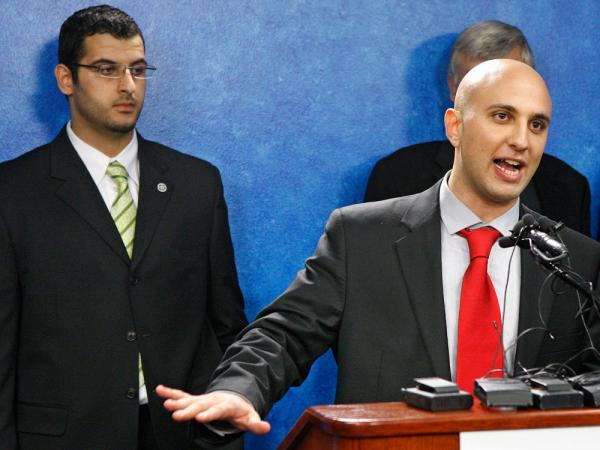 "Muneer Awad (left), executive director of the Oklahoma chapter of the Council on American-Islamic Relations (CAIR), shown with CAIR legal adviser Gadeir Abbas, says Oklahoma's new anti-Shariah law ""isolates, targets and marginalizes Muslims."""