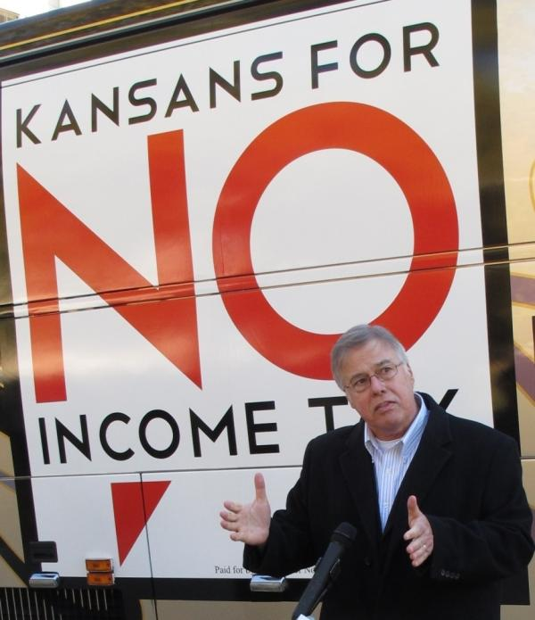 Kansas state Rep. Joe Patton, a Topeka Republican, talked about proposals to eliminate the state's income tax during a November news conference.