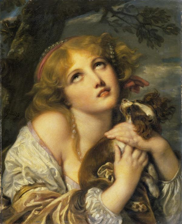 "Jean-Baptiste Greuze's <em>The Souvenir (Fidelity)</em>, 1787-1789. Yuriko Jackall, a curator at the National Gallery of Art in Washington, D.C., says Grueze's subject may be cluching her dog in fear of the storm gathering behind her. ""The viewer may, however, also imagine that she is portrayed in the throes of longing for an absent lover,"" Jackall says."