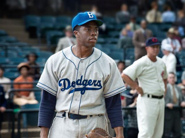 <em>42</em>, the biopic about Jackie Robinson, won the box office last weekend, earning $27 million.