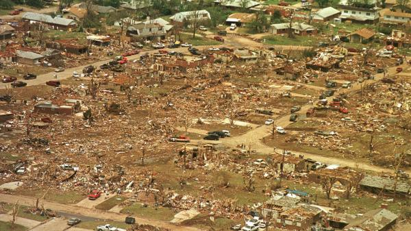 Destruction at Midwest City, Okla., one of the towns hit by the May 5, 1999, tornadoes.