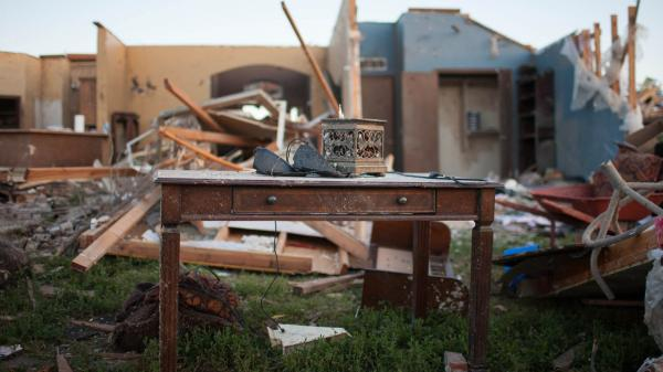 Homes in the Heatherwood subdivision of Moore, Okla., were splintered by the tornado that swept through the area Monday.