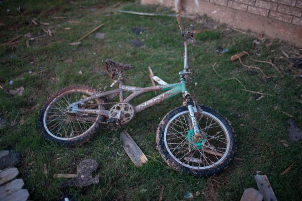 A bike lay in a yard in Heatherwood.