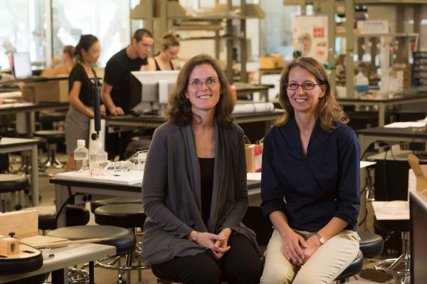 Professors Maria Oden (left) and Rebecca Richards-Kortum at Rice University's Oshman Engineering Design Kitchen in Houston.