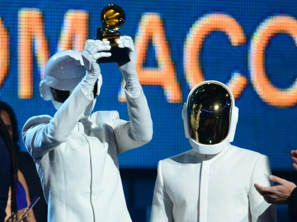"Daft Punk won the Grammy for Album of the Year for <em>Random Access Memories</em> and for Record of the Year for ""Get Lucky."""