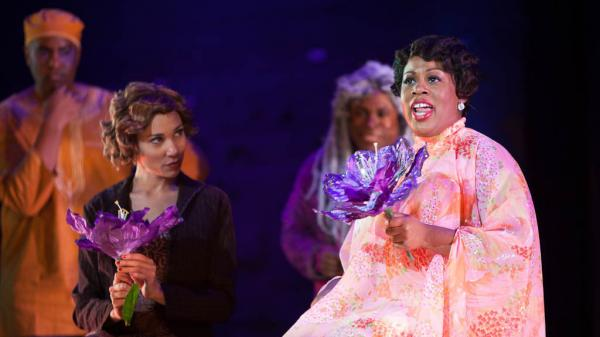 Karen Marie Richardson (right) plays the title role in the Long Beach Opera's staging of <em>Queenie Pie</em>, the jazz opera Duke Ellington left unfinished when he died in 1974.