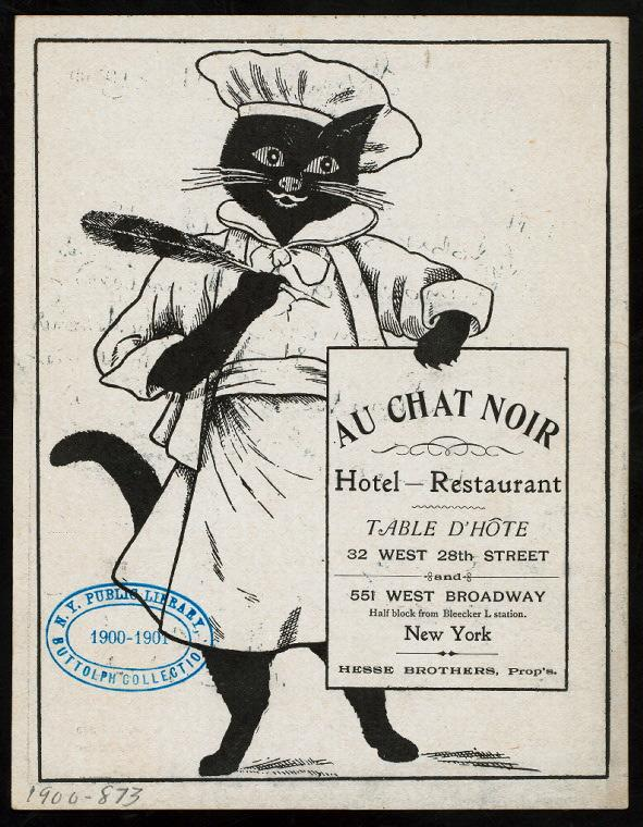 Menu cover for Au Chat Noir Hotel and Restaurant in New York, 1900. (New York Public Library's Buttolph Menu Collection)