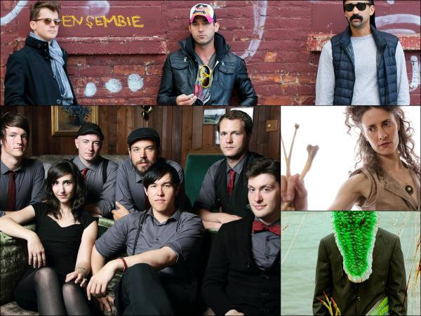 Clockwise from upper left: Sisyphus (Son Lux, Sufjan Stevens, Serengeti), Diane Cluck, Avey Tare, The Family Crest