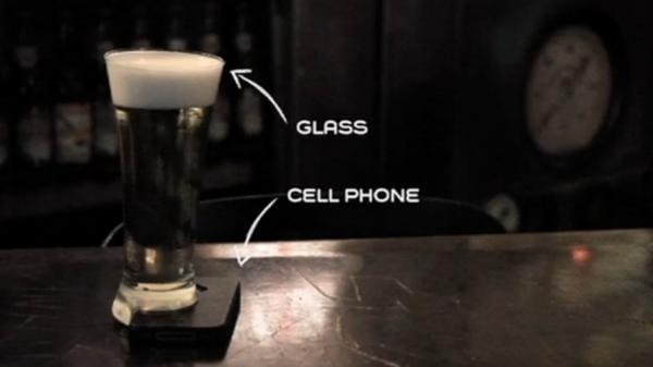 A beer glass that only stands if it can rest on your smartphone.
