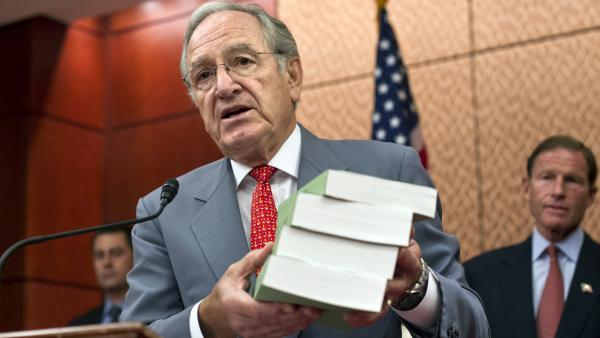 Sen. Tom Harkin, D-Iowa, presents a Senate report on for-profit colleges in 2012. He wants changes to the federal student loan system.