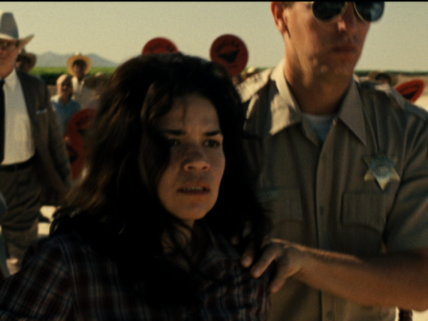 America Ferrera plays Helen Chavez, who in the film gets arrested for screaming <em>Huelga</em> (strike).