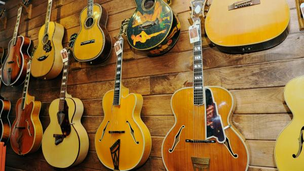 A few of the D'Angelico guitars set to be auctioned, pictured here at the GTR showroom in New York City.