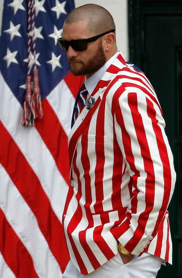 Red Sox player Jonny Gomes wore his patriotism on more than his sleeve at the White House Tuesday.
