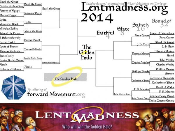 "Comments on the Lent Madness website have gotten heated. Mark D. writes, ""So I got my wish: JS Bach is in the mix. But he's in the same bracket with the Wesleys and Thomas Merton?? This is going to be ugly."""