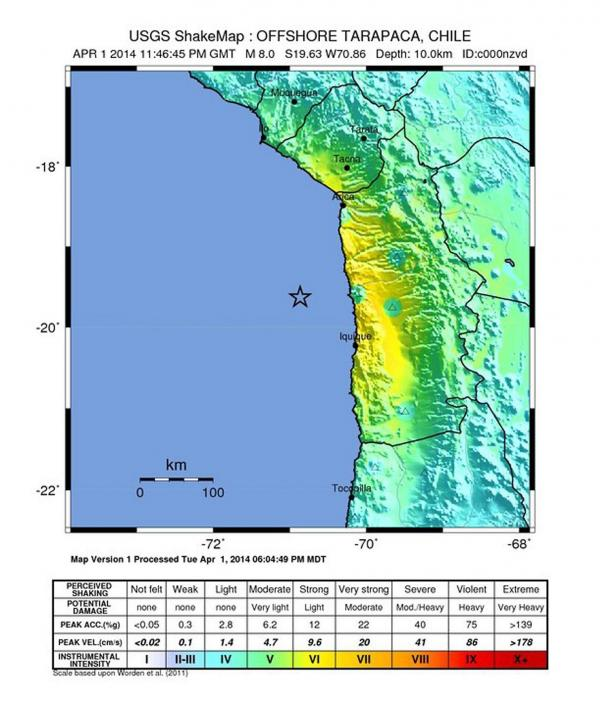 This image from the U.S. Geological Survey shows the location of Tuesday's earthquake (marked by a star) and the relative severity of the shaking felt on land. The areas shaded in yellow were shaken the hardest.