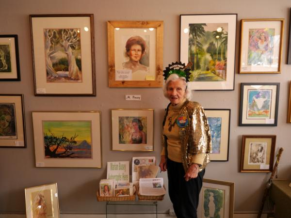 Arati Artist Gallery members feted Busey's work and her 102nd birthday. Contrary to what her crown states, Busey said she does not feel 'Older Than Dirt.'