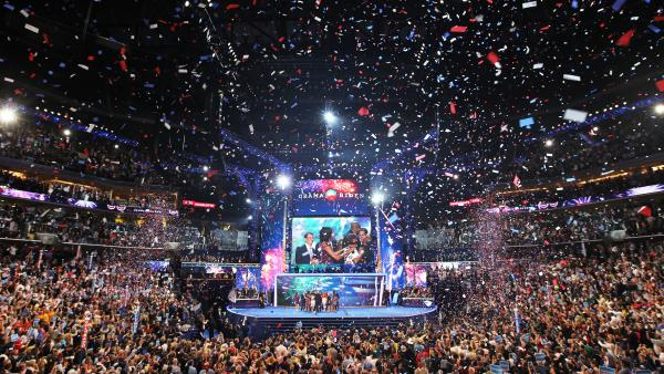 President Obama stands on stage with Vice President Biden and their families after accepting the party nomination during the final day of the 2012 Democratic National Convention in Charlotte, N.C.
