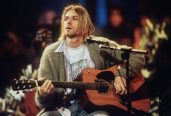 Kurt Cobain of Nirvana during the taping of MTV Unplugged at Sony Studios in New York City, November 18, 1993. On the 20 year anniversary of Cobain's death and with Nirvana about to be inducted into the Rock and Roll Hall of Fame, we look back on Cobain's lasting legacy. (Frank Micelotta/Getty Images)