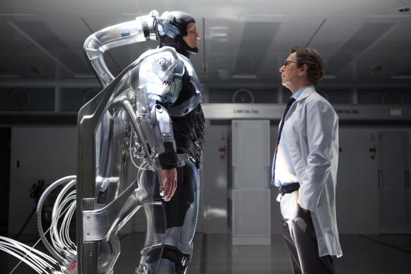 Joel Kinnaman (left) as Alex Murphy and Gary Oldman as Dr. Dennett Norton in <em>Robocop</em>.