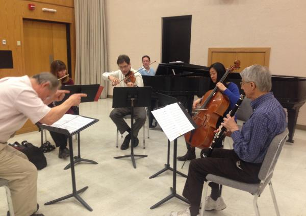 Network For New Music musicians rehearse at Temple University's Presser Hall. (Robin Young/Here & Now)