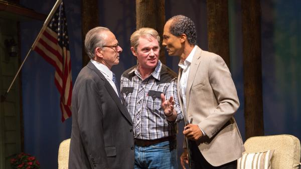 Ron Rifkin as Menachem Begin, Richard Thomas as Jimmy Carter and Khaled Nabawy as Anwar Sadat in the new play <em>Camp David</em>.
