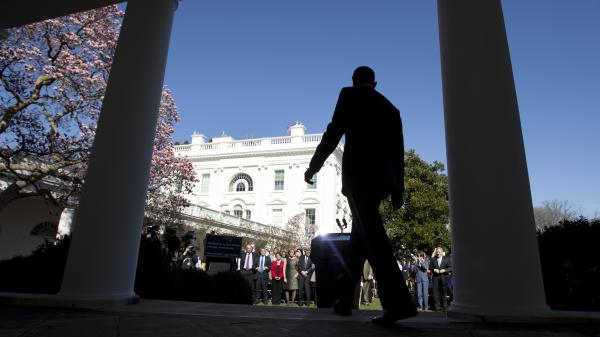 President Obama arrives in the Rose Garden on Tuesday to trumpet 7.1 million signups under the Affordable Care Act.