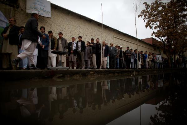 Long lines were seen at almost every polling station around Kabul Saturday, despite heavy rain and security threats.