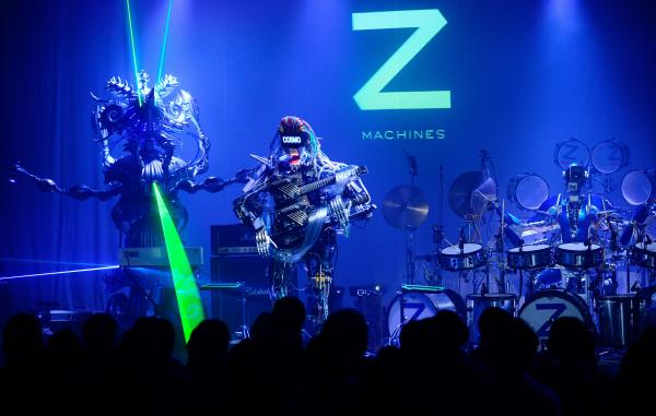 "Z-Machines, a ""power trio"" designed by Japanese roboticists, on stage in Tokyo last year. The songs on <em>Music for Robots</em>, a new EP by the U.K. artist Squarepusher, is performed entirely by the group."