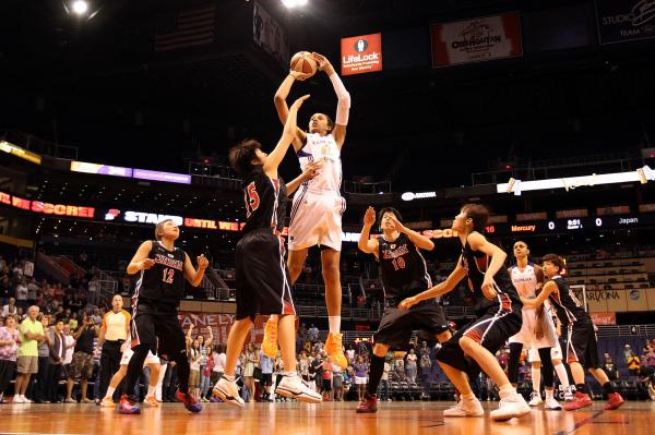 Brittney Griner puts up a shot against Japan during a 2013 preseason WNBA game in Phoenix.