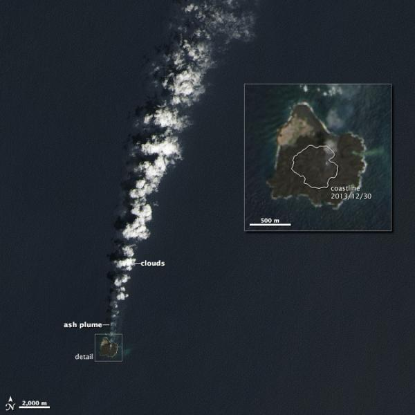 An image taken by the Landsat 8 satellite last month shows the new, larger Nishino-shima.