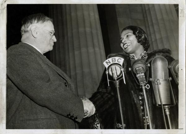 "Interior Secretary Harold Ickes facilitated the concert and introduced Anderson, saying: ""In this great auditorium under the sky, all of us are free. Genius, like justice, is blind. Genius draws no color lines."""