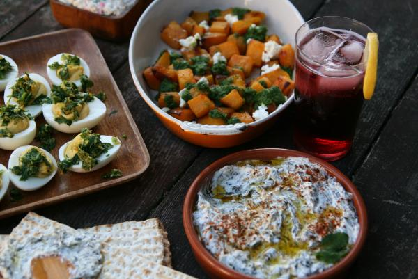 A spread of Passover snacks