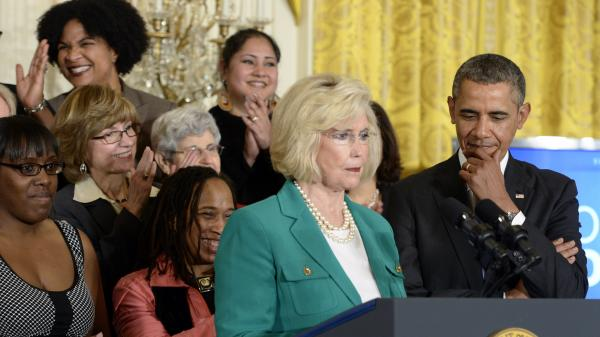 Lilly Ledbetter speaks at the White House on Tuesday, during an event marking Equal Pay Day. President Obama announced new executive actions to strengthen enforcement of equal pay laws for women.
