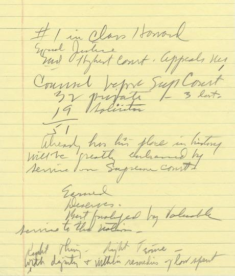 LBJ's notes from his meeting with Thurgood Marshall.