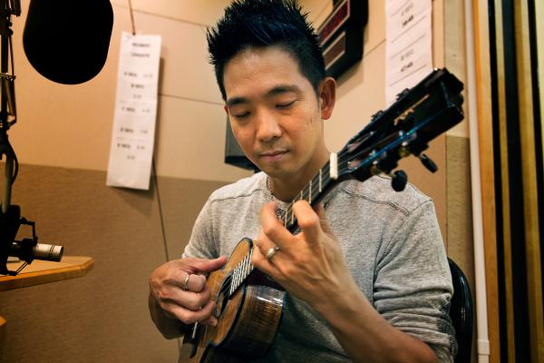 Ukulele virtuoso  Jake Shimabukuro performs in the Here & Now studios. (Jesse Costa/Here & Now)