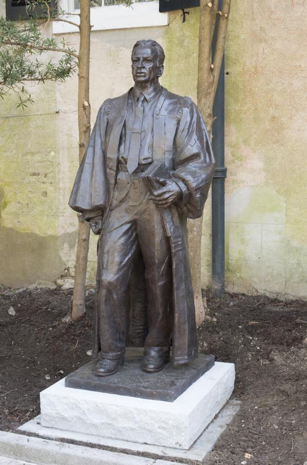 Sculptor Richard Weaver created this life-sized sculpture of federal judge J. Waties Waring.