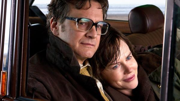 Colin Firth and Nicole Kidman as Eric and Patti Lomax, the couple at the center of <em>The Railway Man</em>.