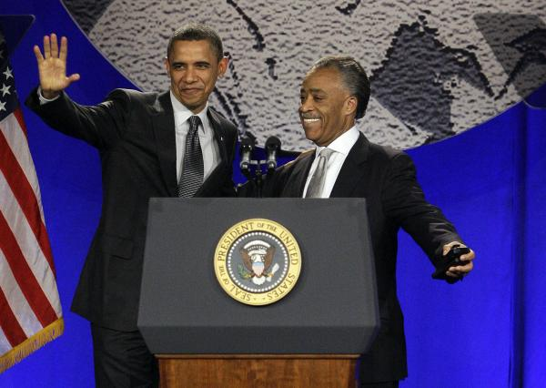 President Obama and the Rev. Al Sharpton together at the 2011 National Action Network conference.