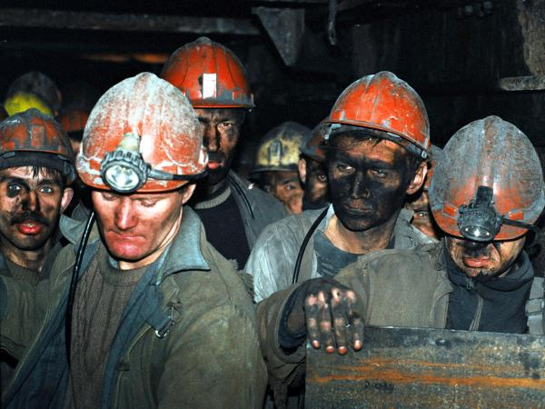 Miners pack up and leave after a long days work at the Skochinski coal mine on April 3, 2001 in Donetsk, Ukraine. Modern Donetsk is one of the largest metallurgical centers of Ukraine.