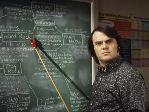 Jack Black in a scene from the 2003 film <em>School Of Rock</em>