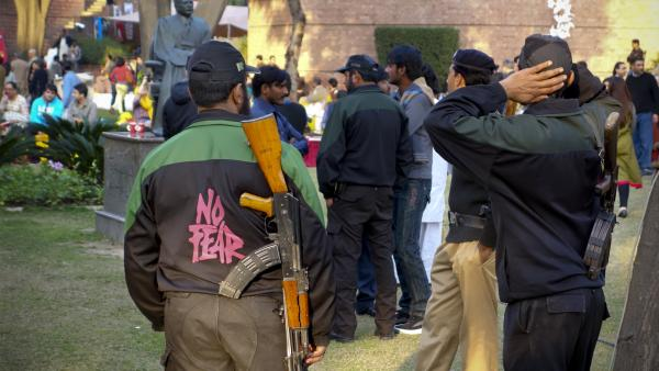 Armed guards and police serve as a constant reminder that any public gathering, even a literary festival, creates a major security challenge in Pakistan today.