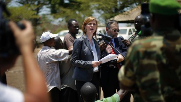 U.S. Ambassador to the U.N. Samantha Power addresses top officials from the African peacekeeping mission in Bangui, Central African Republic, on Wednesday.