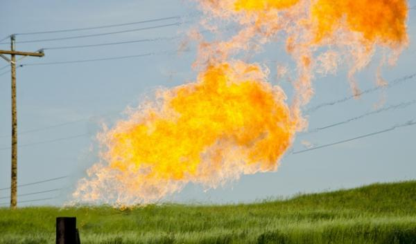Natural gas flares from a flare-head at the Orvis State well on the Evanson family farm in McKenzie County.