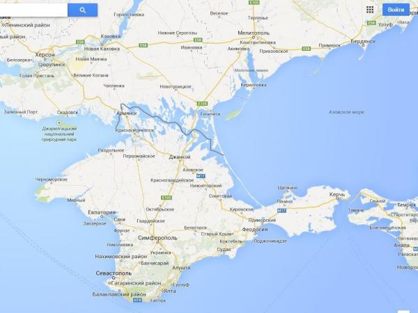 On Russia's Google Maps service, Crimea is separated from Ukraine by a solid line.
