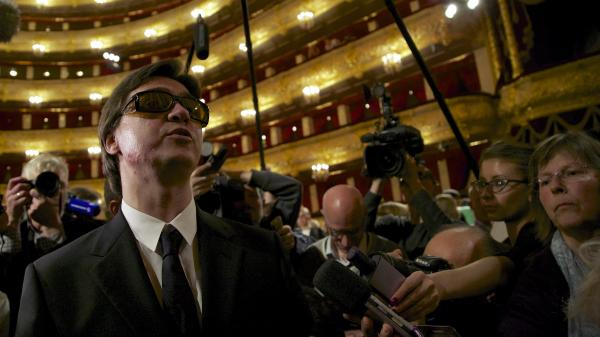 Bolshoi Ballet artistic director Sergei Filin addresses the media during a meeting at the Bolshoi Theater. Filin was nearly blinded last year in an acid attack masterminded by one of the company's dancers.