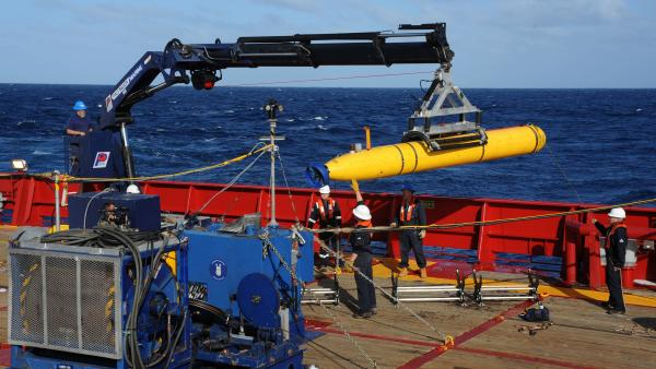 The U.S. Navy's Bluefin-21 Artemis autonomous underwater vehicle as it was being hoisted on board the Australian Navy vessel Ocean Shield earlier this month. The Bluefin is being deployed to map the sea floor in the area of the southern Indian Ocean where the search for Malaysia Airlines Flight 370 is concentrated. It will look for any sign of the missing jet.